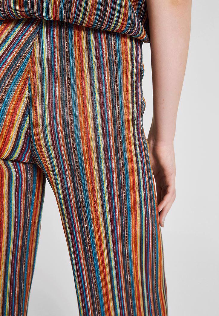 Bayan Çok Renkli Çizgi Desenli Bol Pantolon