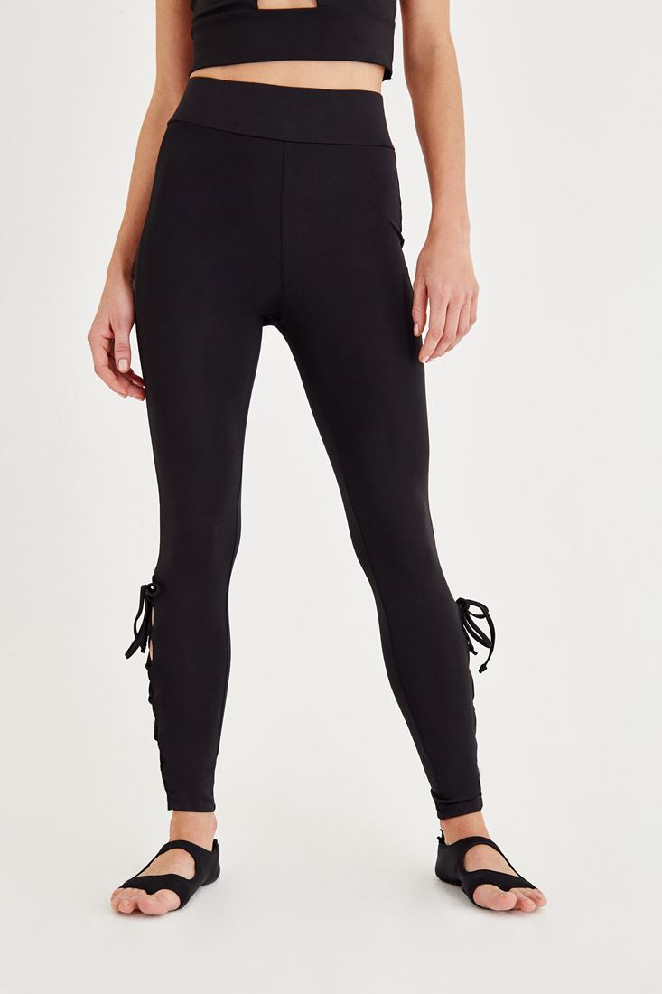 Black Sport Tights with Binding Detailed