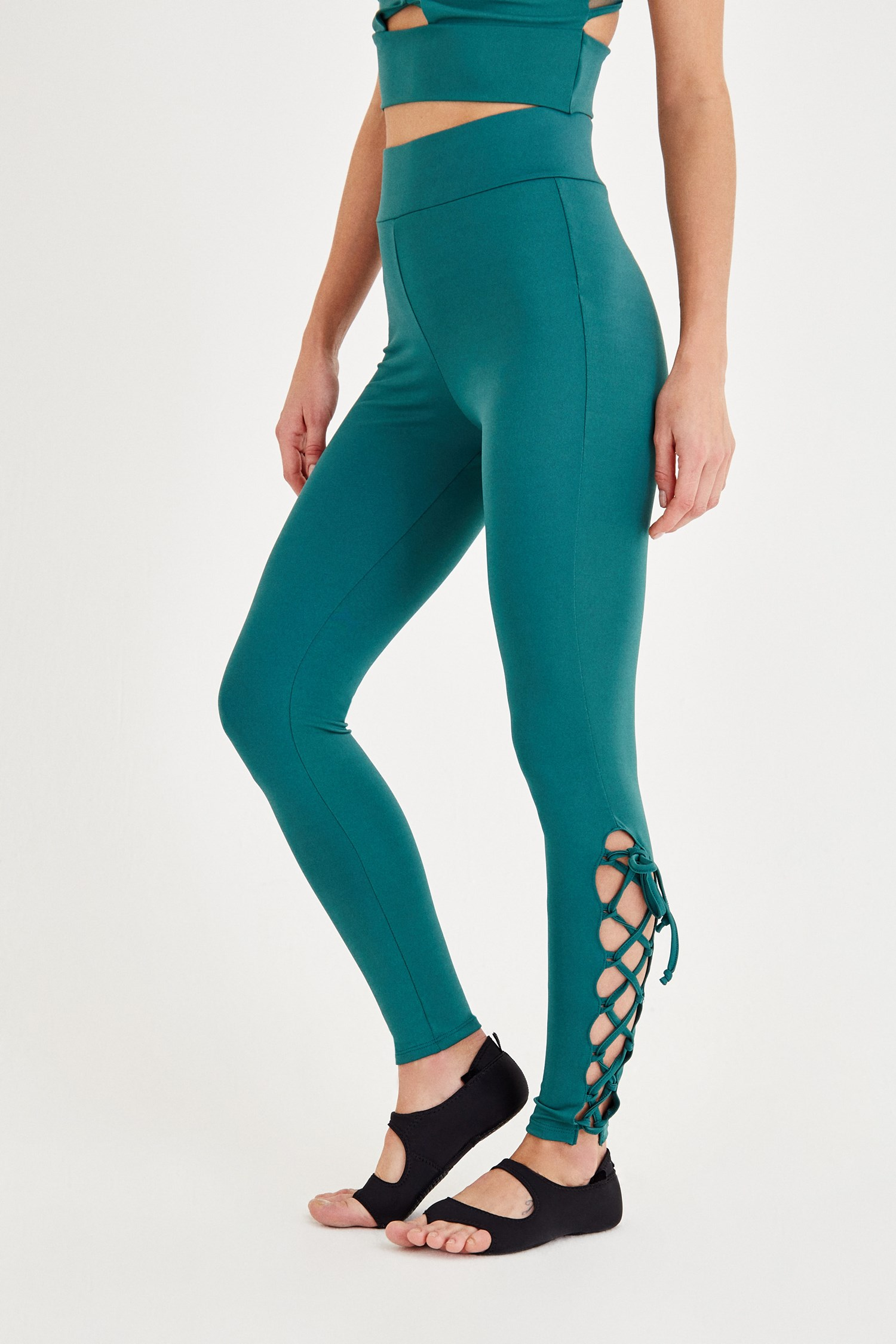 Women Green Sport Tights with Binding Detailed