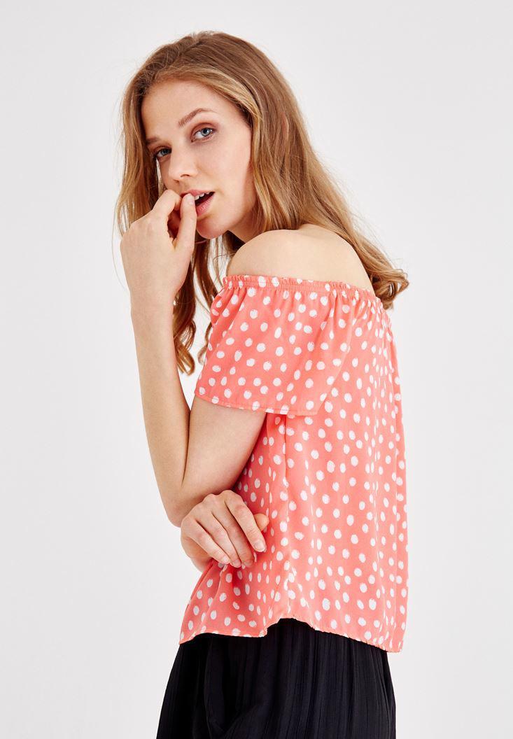 Bayan Çok Renkli Düşük Omuzlu Puantiye Desenli Bluz