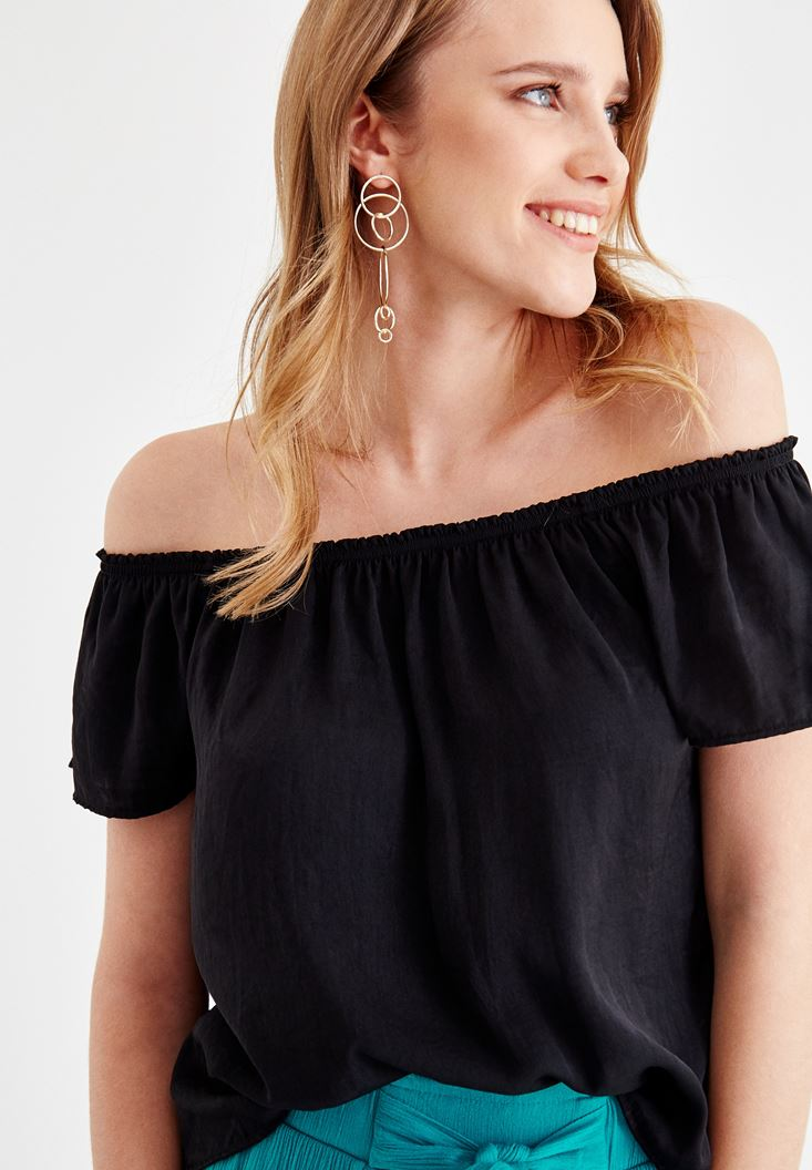 Black Blouse with Off Shoulder Details