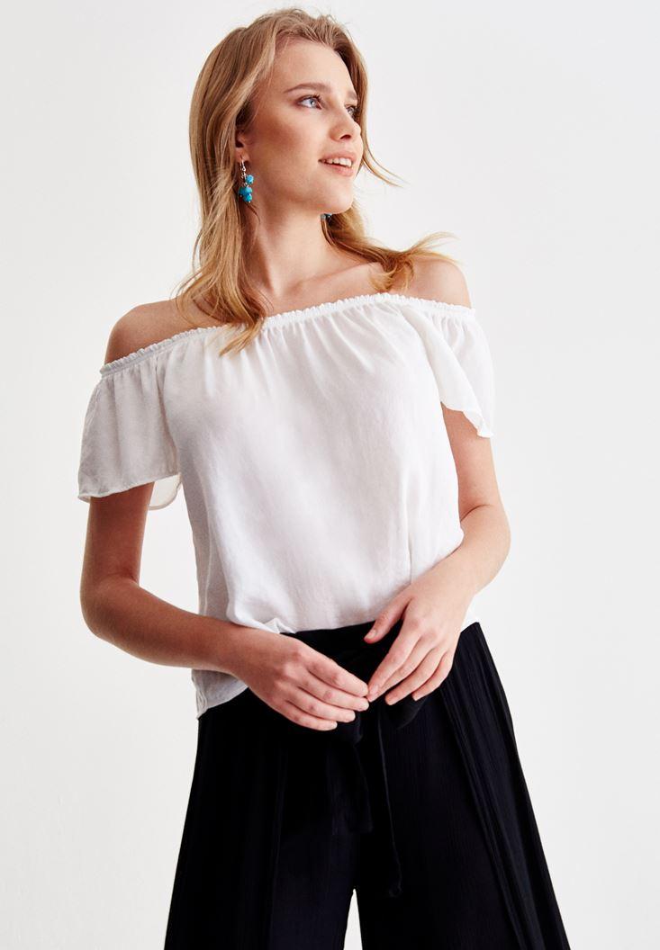 Beyaz Düşük Omuz Detaylı Bluz