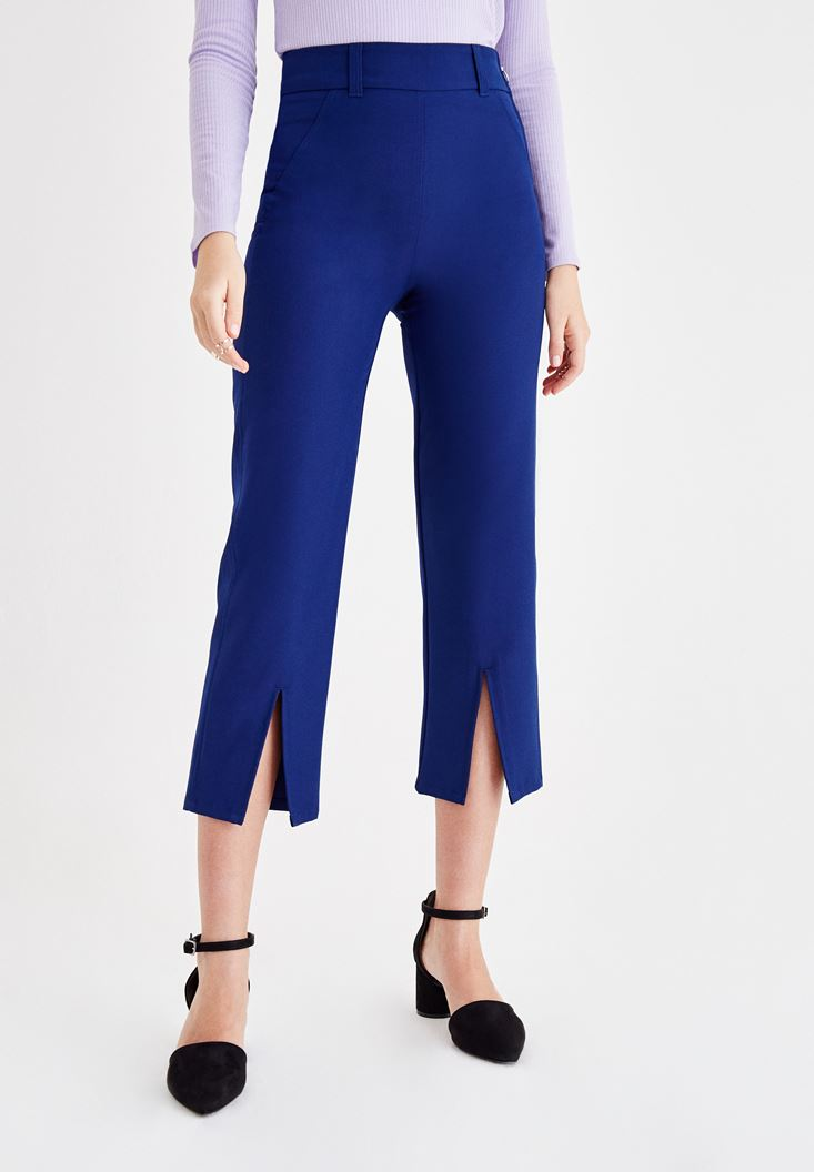 Navy High Rise Pants with Leg Details