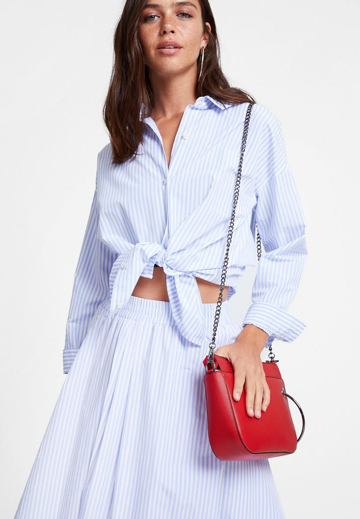 Mixed Cotton Shirt with Stripe Detail