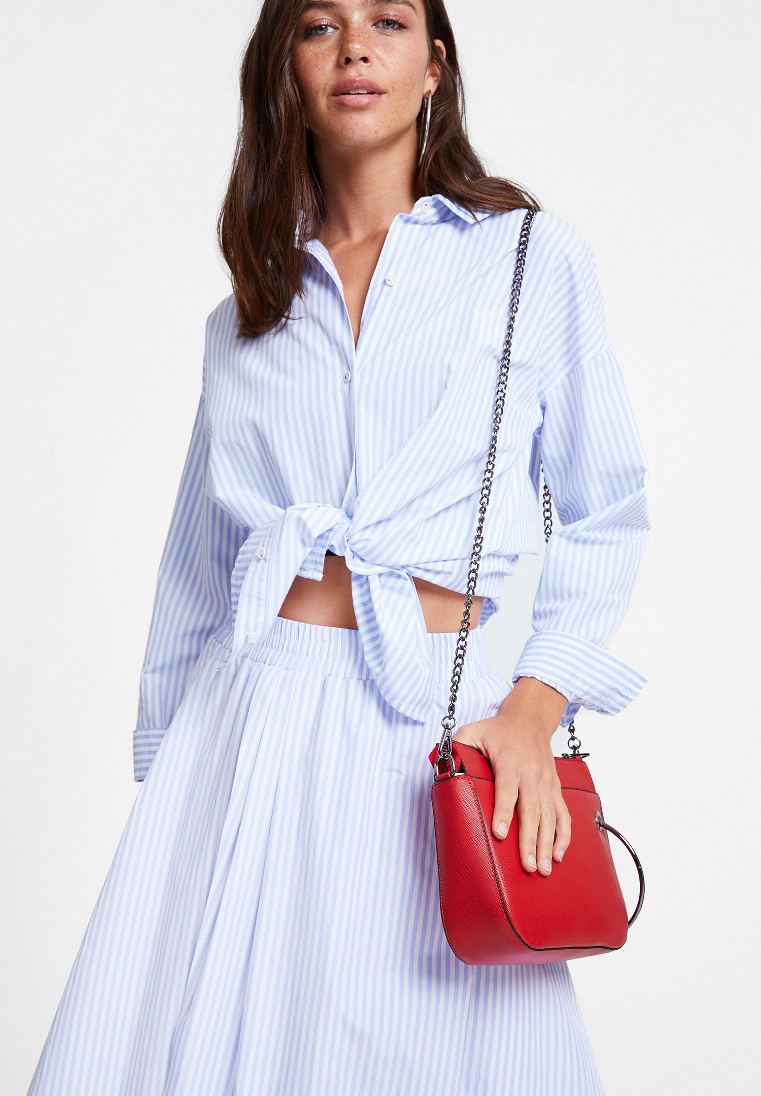 Women Mixed Cotton Shirt with Stripe Detail
