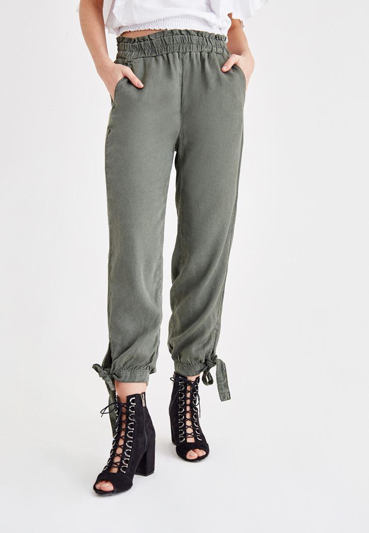 Yeşil Beli Lastikli Bilek Detaylı Pantolon