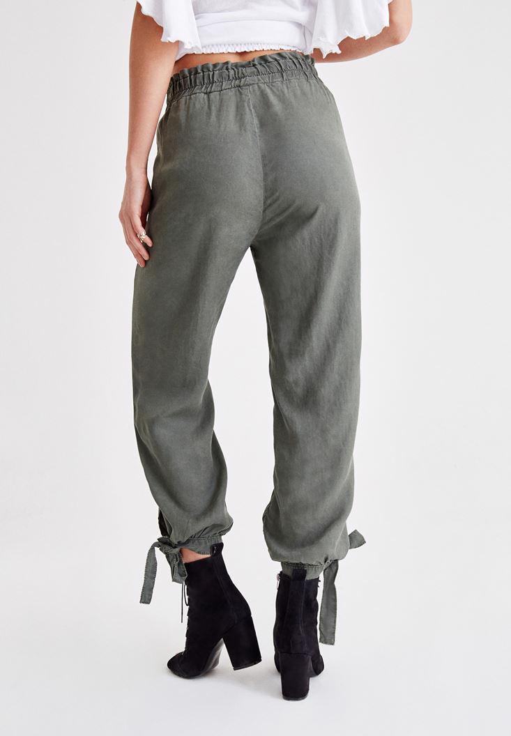 Bayan Yeşil Beli Lastikli Bilek Detaylı Pantolon