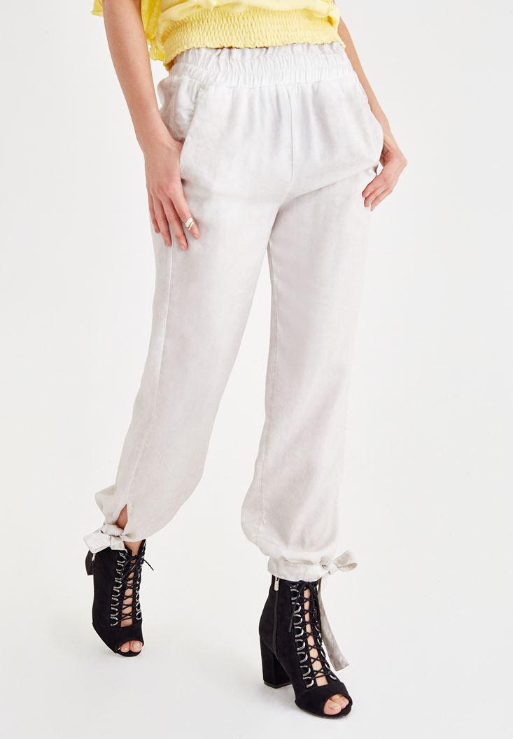 Gri Beli Lastikli Bilek Detaylı Pantolon