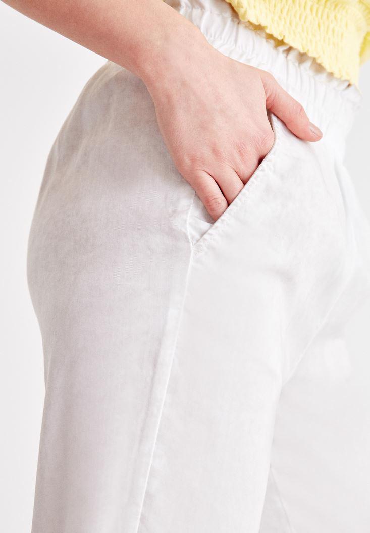 Bayan Gri Beli Lastikli Bilek Detaylı Pantolon