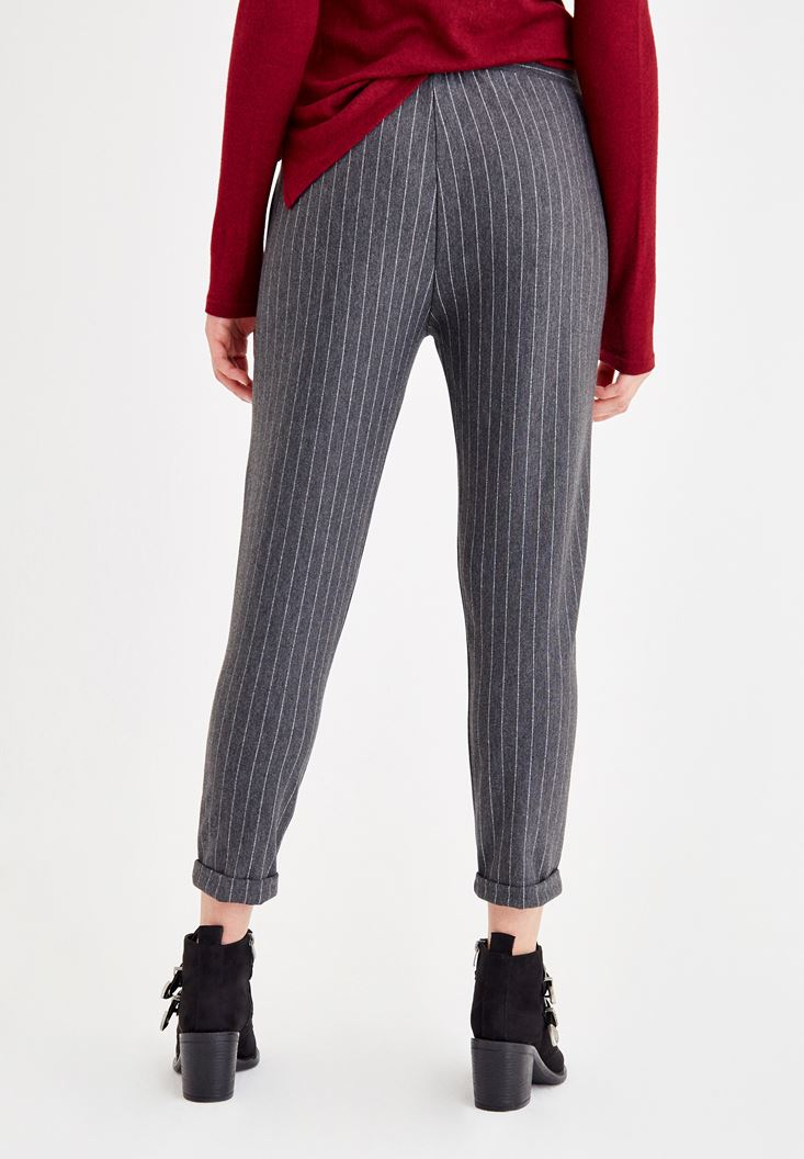 Bayan Çok Renkli Önü Bağlama Detaylı Çizgili Pantolon