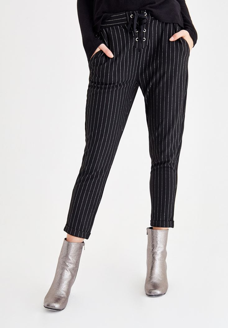 Black Striped Pants with Cord Details
