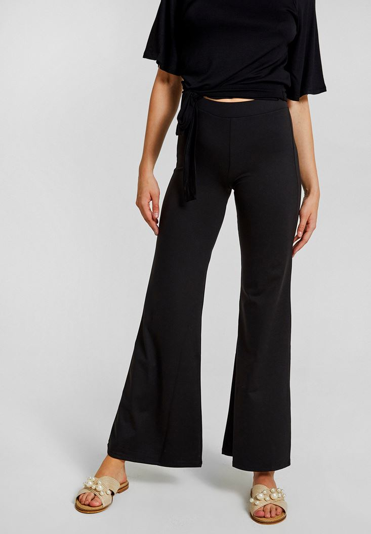 Black High Rise Pants with Slash Detail
