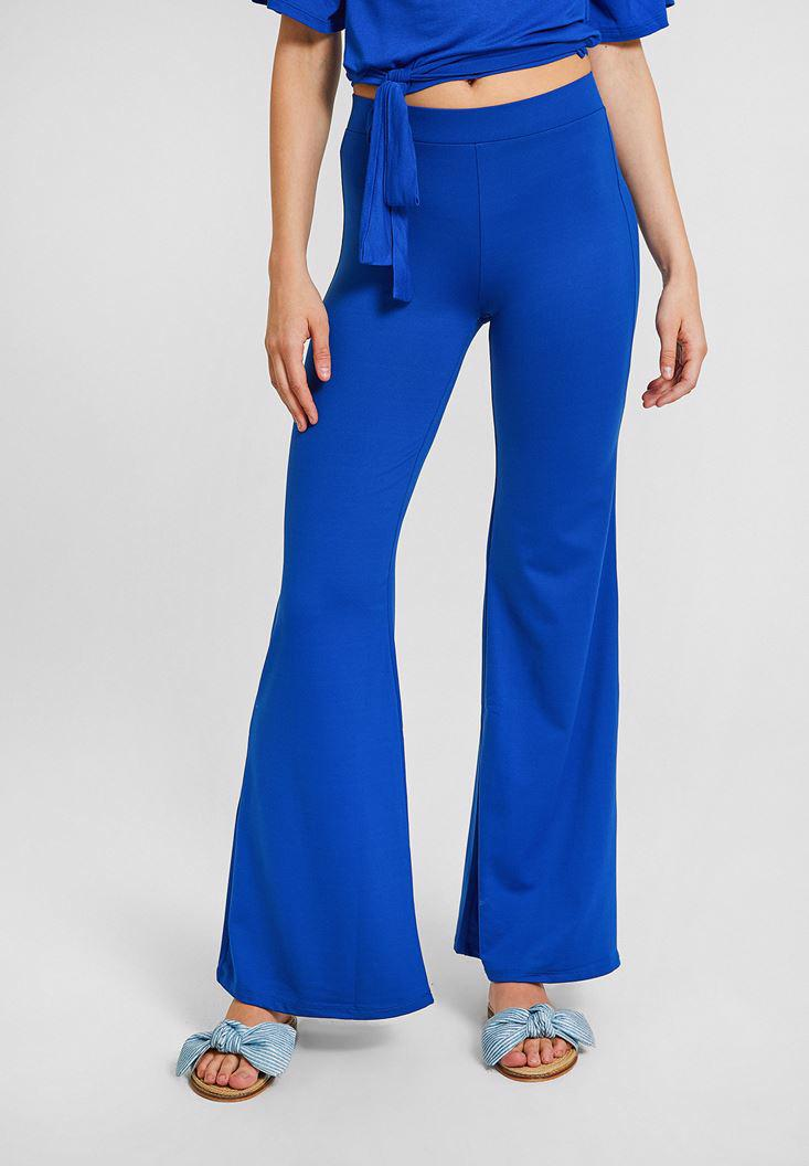 Bayan Lacivert Paçası Yırtmaç Detaylı Pantolon