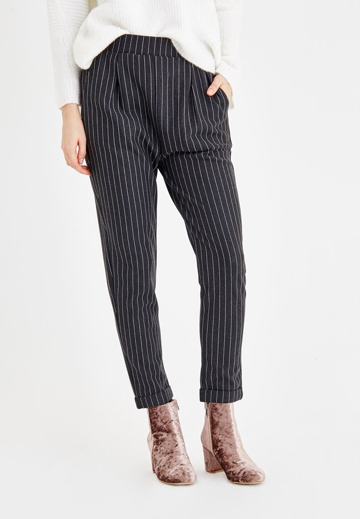 Mixed Striped Pants with Pockets