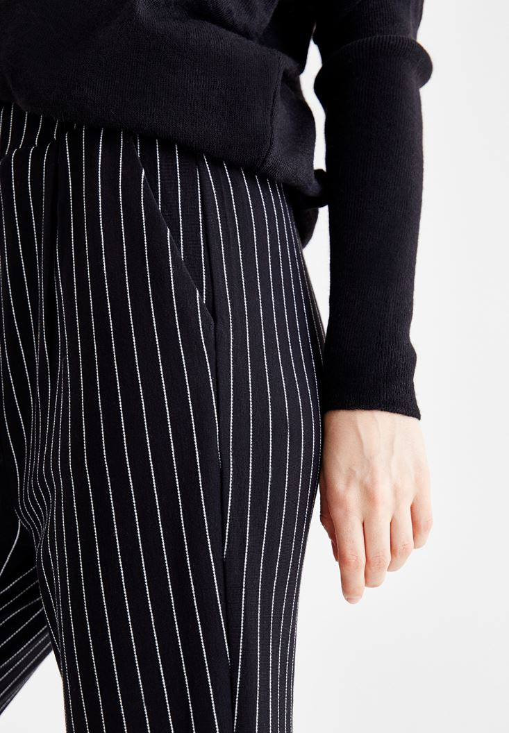 Bayan Çok Renkli Çizgili Cepli Boru Paça Pantolon