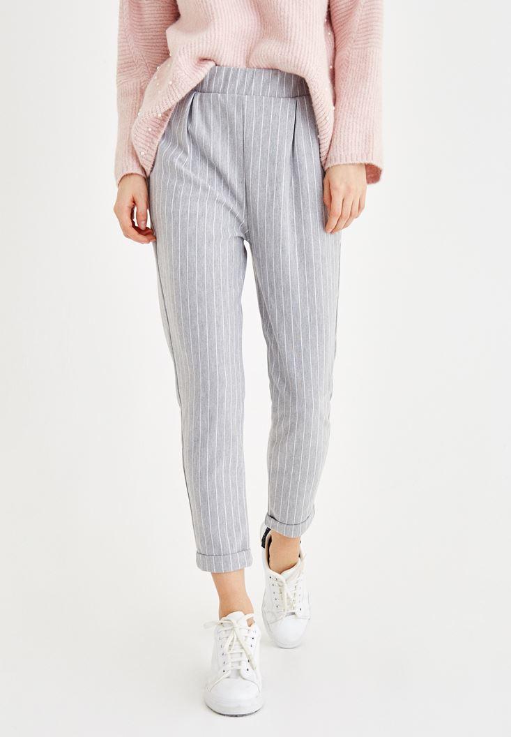 Çok Renkli Çizgili Cepli Boru Paça Pantolon