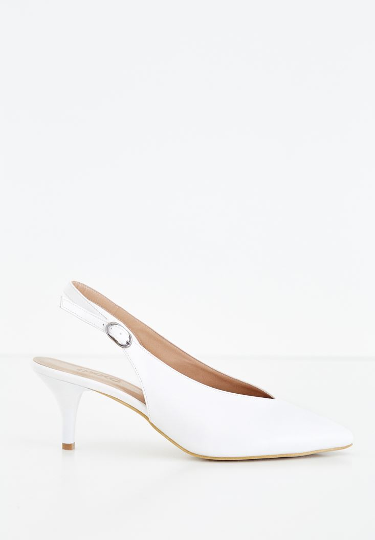 White Medium Heel Shoes