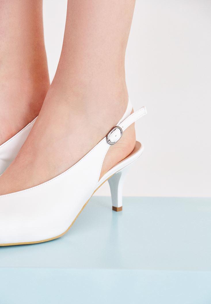 Bayan Beyaz İnce Topuklu Sivri Burun Ayakkabı