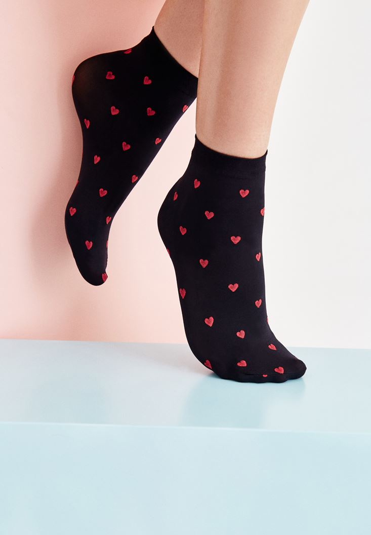 Black Short Socks with Hearts