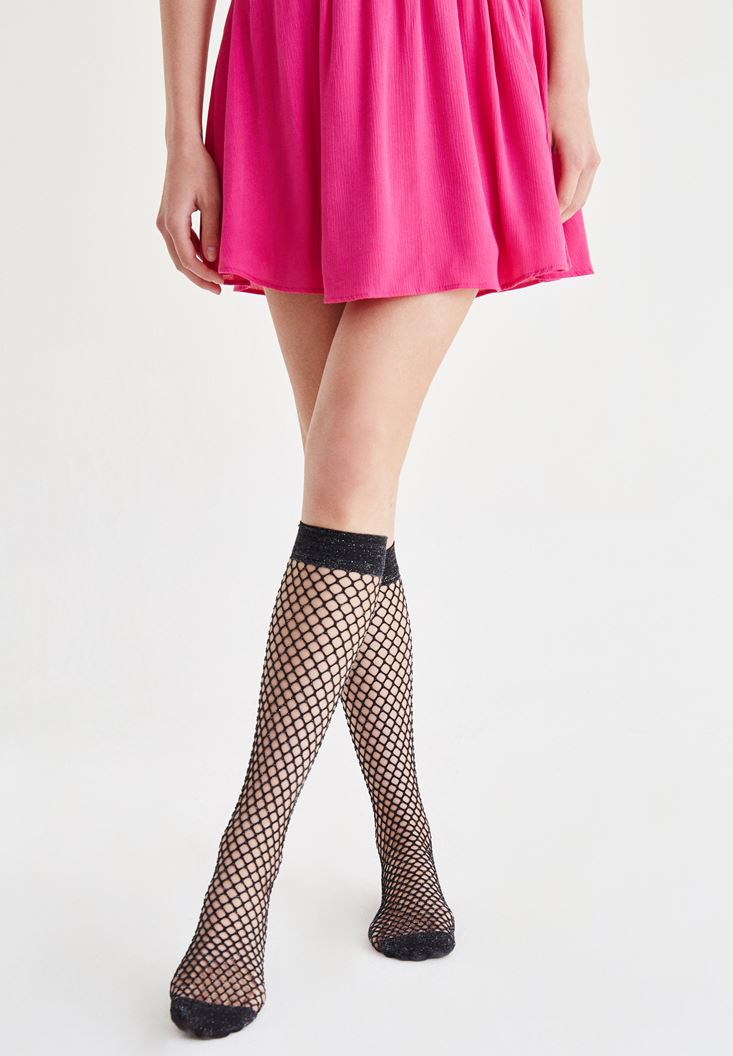 Grey Fishnet Socks with Shiny Details
