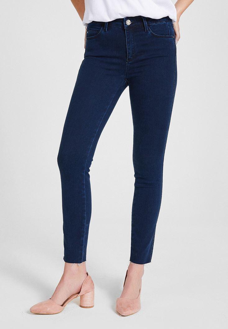 Blue Mid Rise Denim Pants with  Legging Details