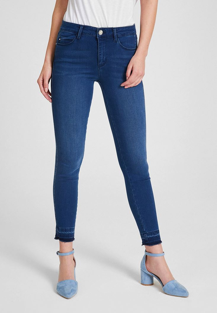 Navy Mid Rise Denim Pants with  Legging Details