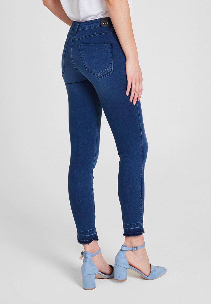 Women Navy Mid Rise Denim Pants with  Legging Details