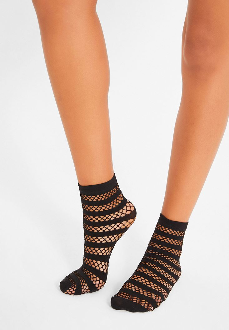 Siyah Çizgi Detaylı Çorap