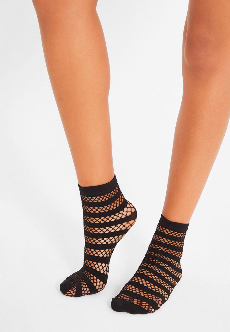 Bayan Siyah Çizgi Detaylı Çorap