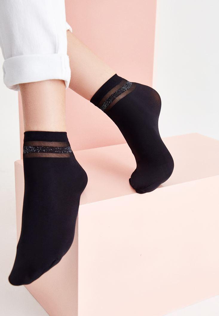 Siyah Sim ve Transparan Şeritli Kısa Çorap
