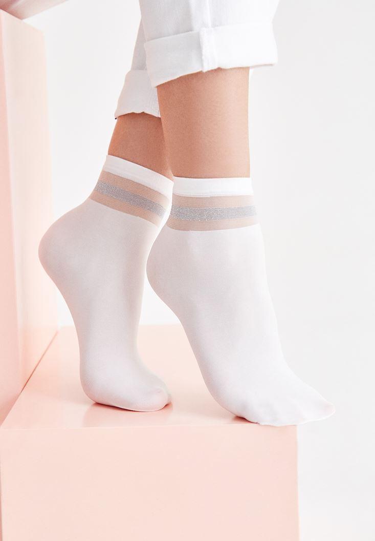 Bayan Beyaz Sim ve Transparan Şeritli Kısa Çorap