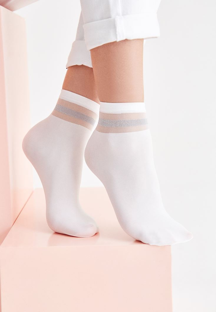White Silver and Transparent Line Short Socks