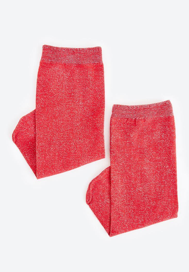 Kırmızı Parlak Detaylı Çorap