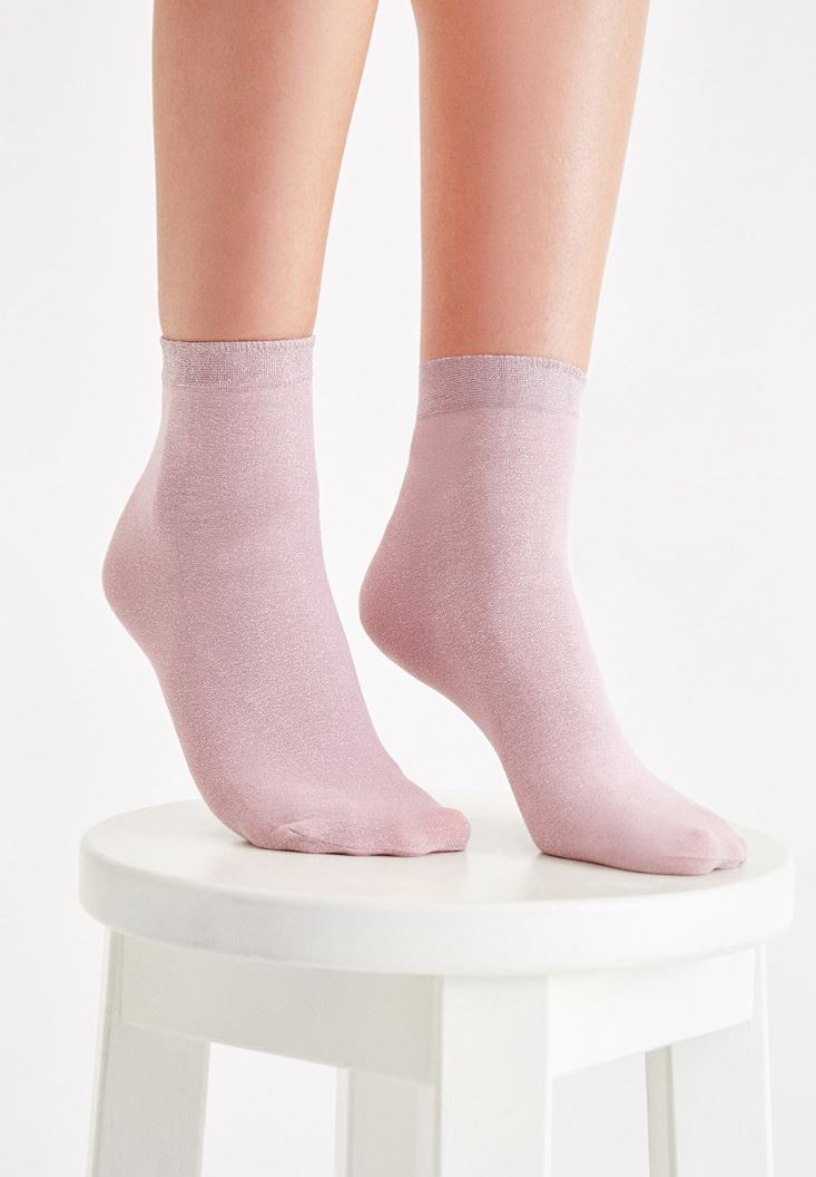Pink Socks with Shiny Details