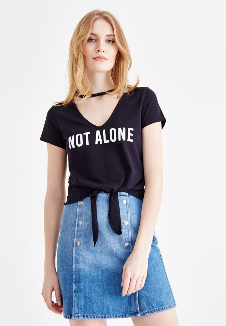 Black V Neck T-Shirt with Slogan Pattern