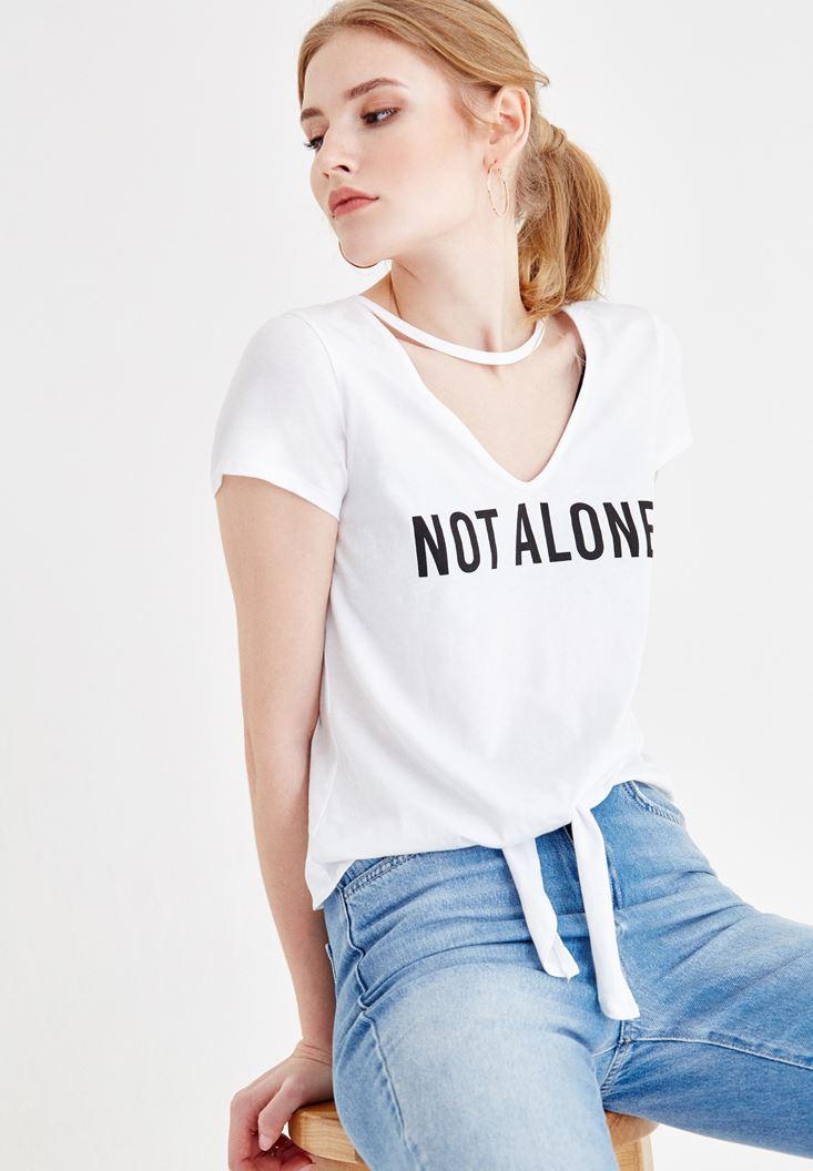 Beyaz Slogan Baskılı V Yaka Tişört