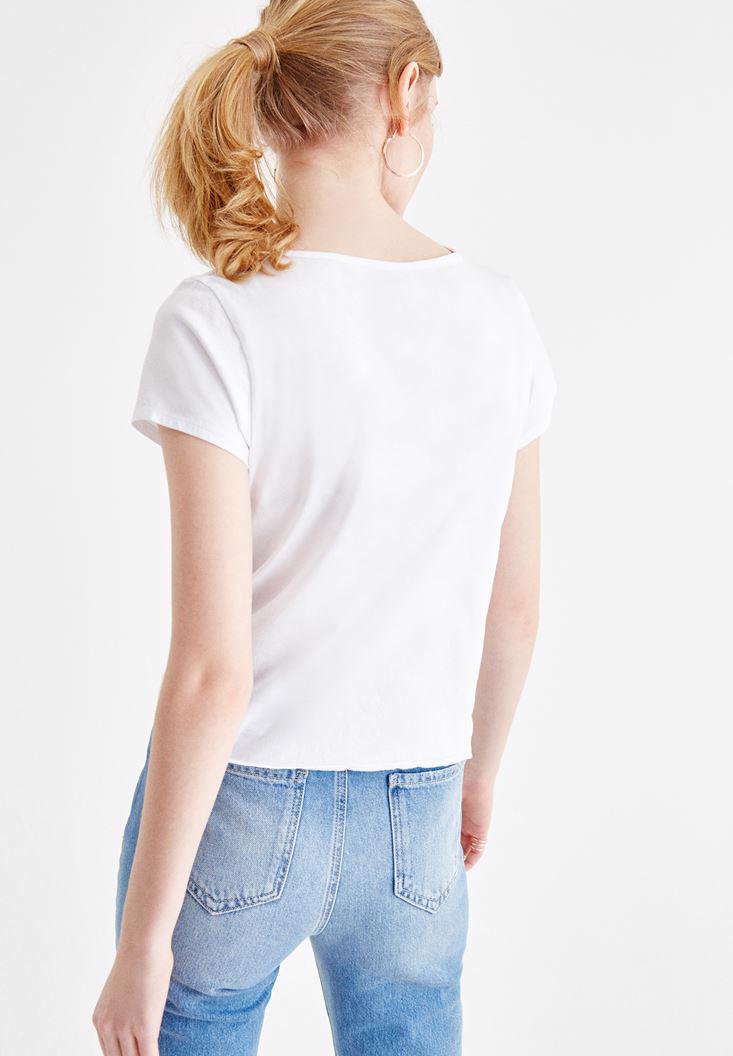 Bayan Beyaz Slogan Baskılı V Yaka Tişört