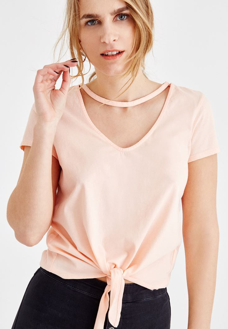 Women Cream V Neck T-Shirt with Cord Details