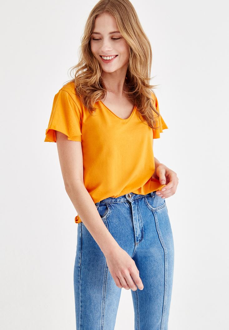 Orange V Neck T-shirt with Arm Detailed