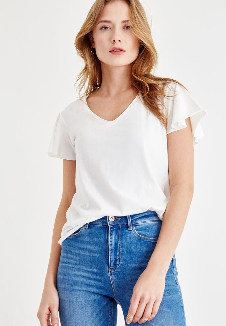 Cream V Neck T-shirt with Arm Detailed