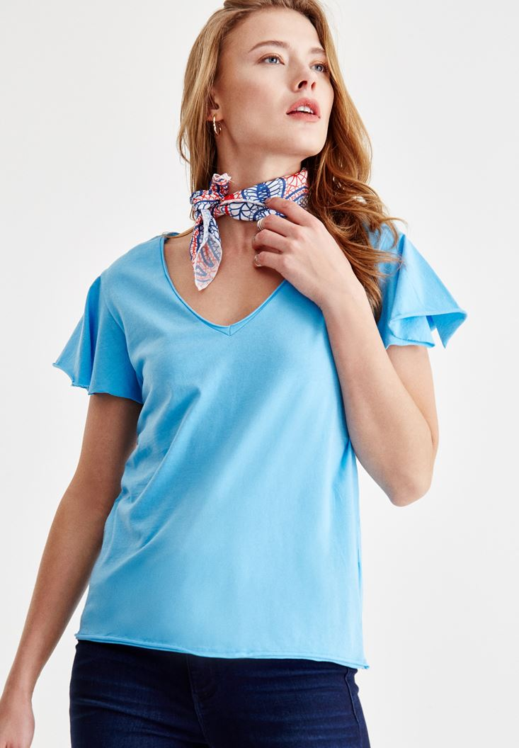 Blue V Neck T-shirt with Arm Detailed