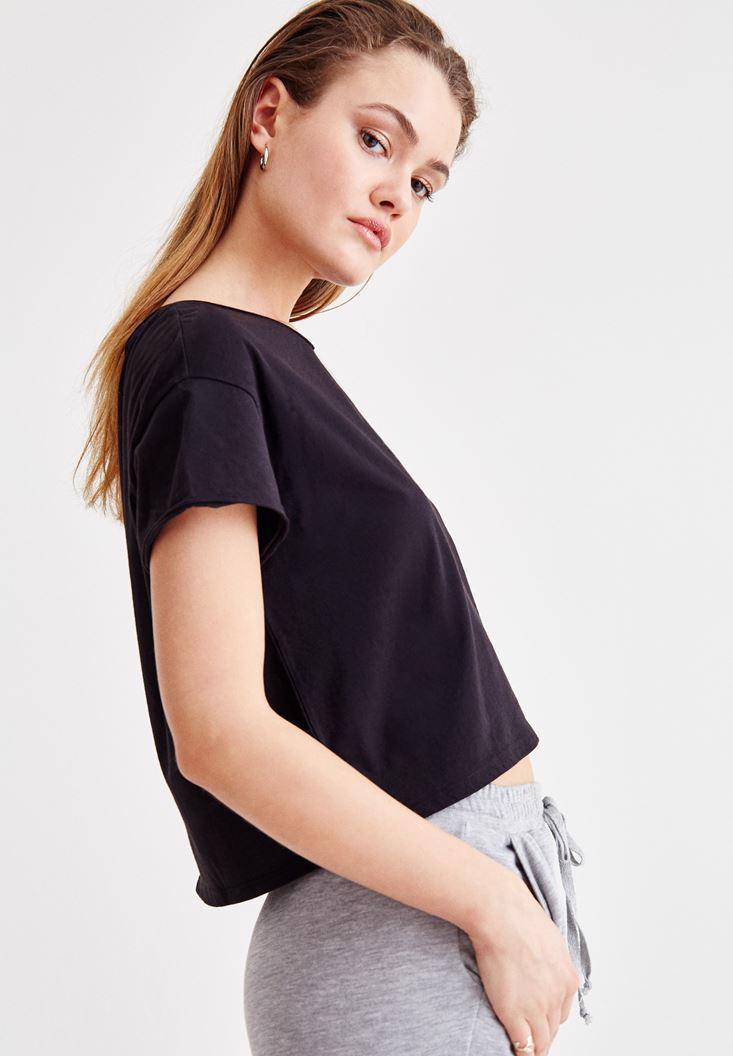Women Black Crop Top with Details