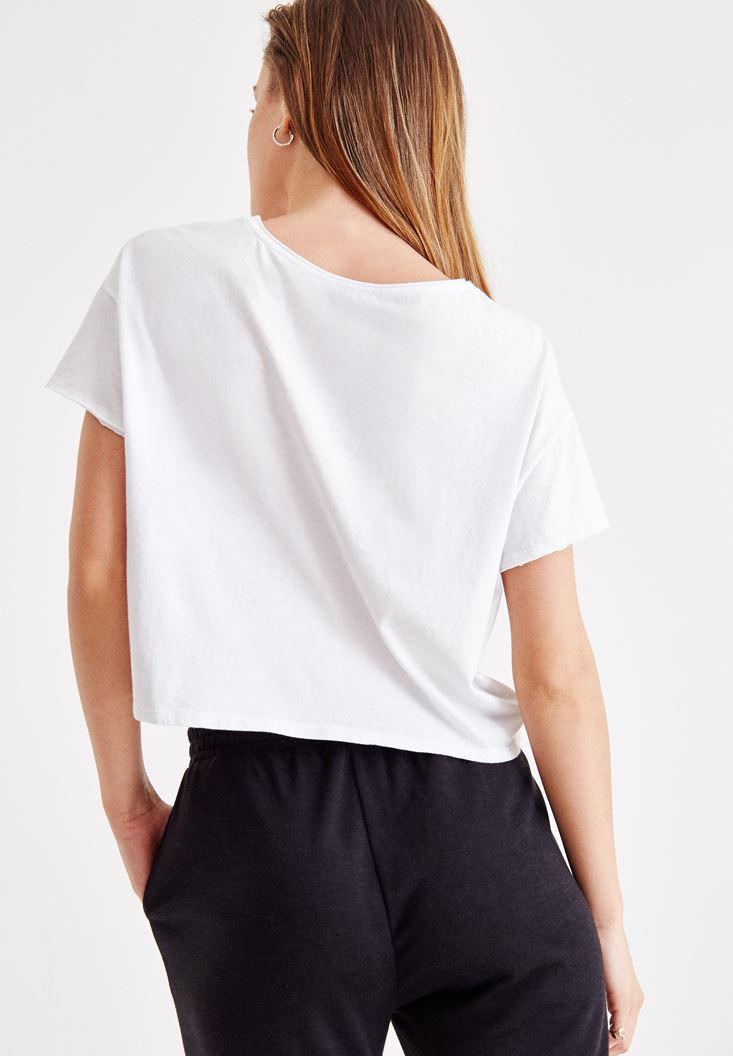Women White T-Shirt with Slogan Pattern