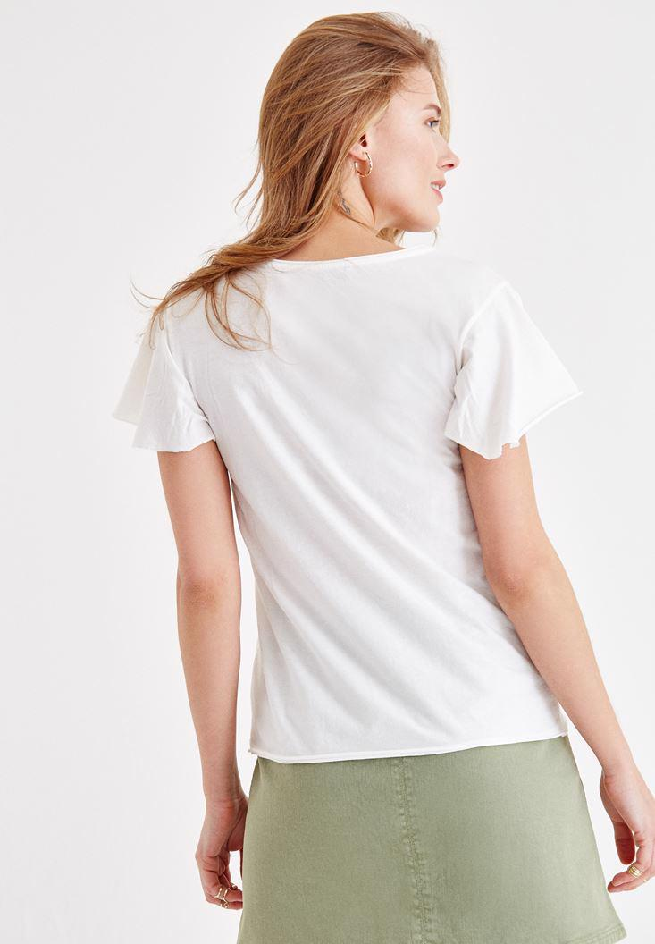 Cream V Neck T Shirt With Embroidery Detailed Oxxo