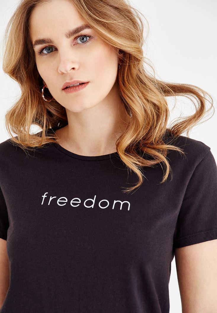Siyah Pamuklu Freedom Tişört