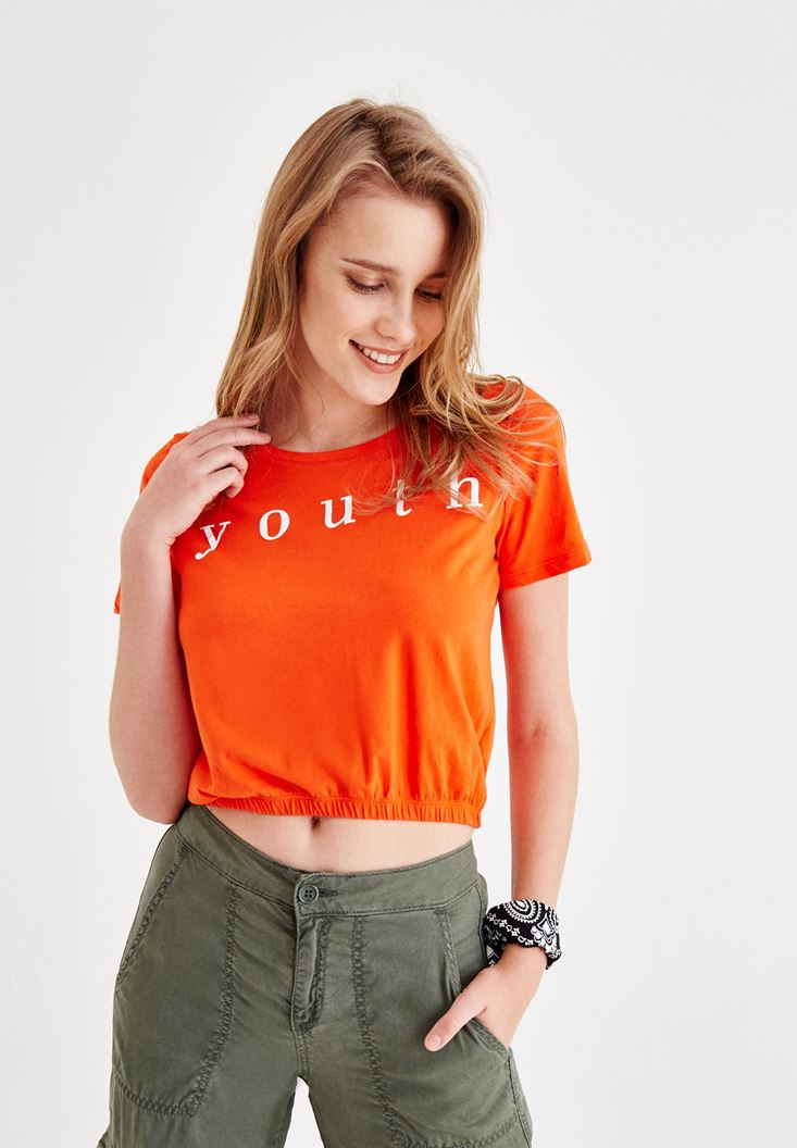 Red Crop T-Shirt with Elastic Waist