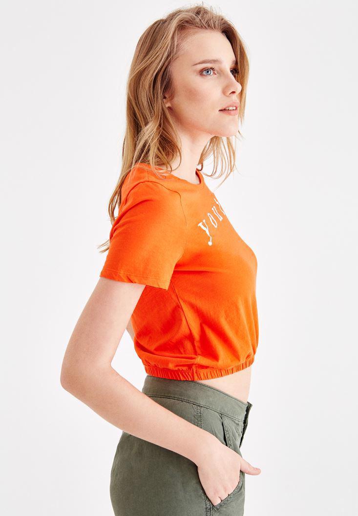 Bayan Kırmızı Bel Lastikli Yarım Tişört