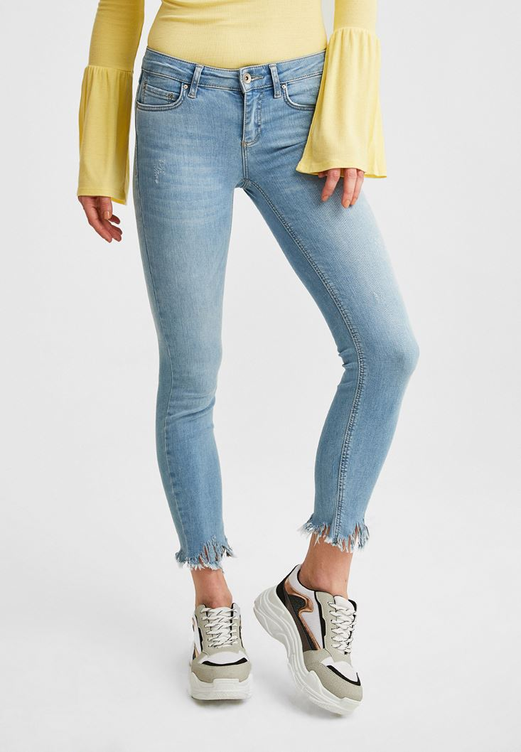 Mavi Dar Paça Düşük Bel Denim Pantolon