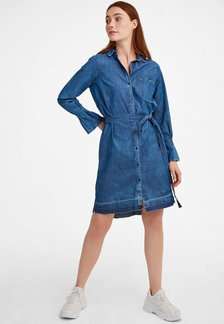 Mavi Kol Detaylı Beli Bağlamalı Elbise