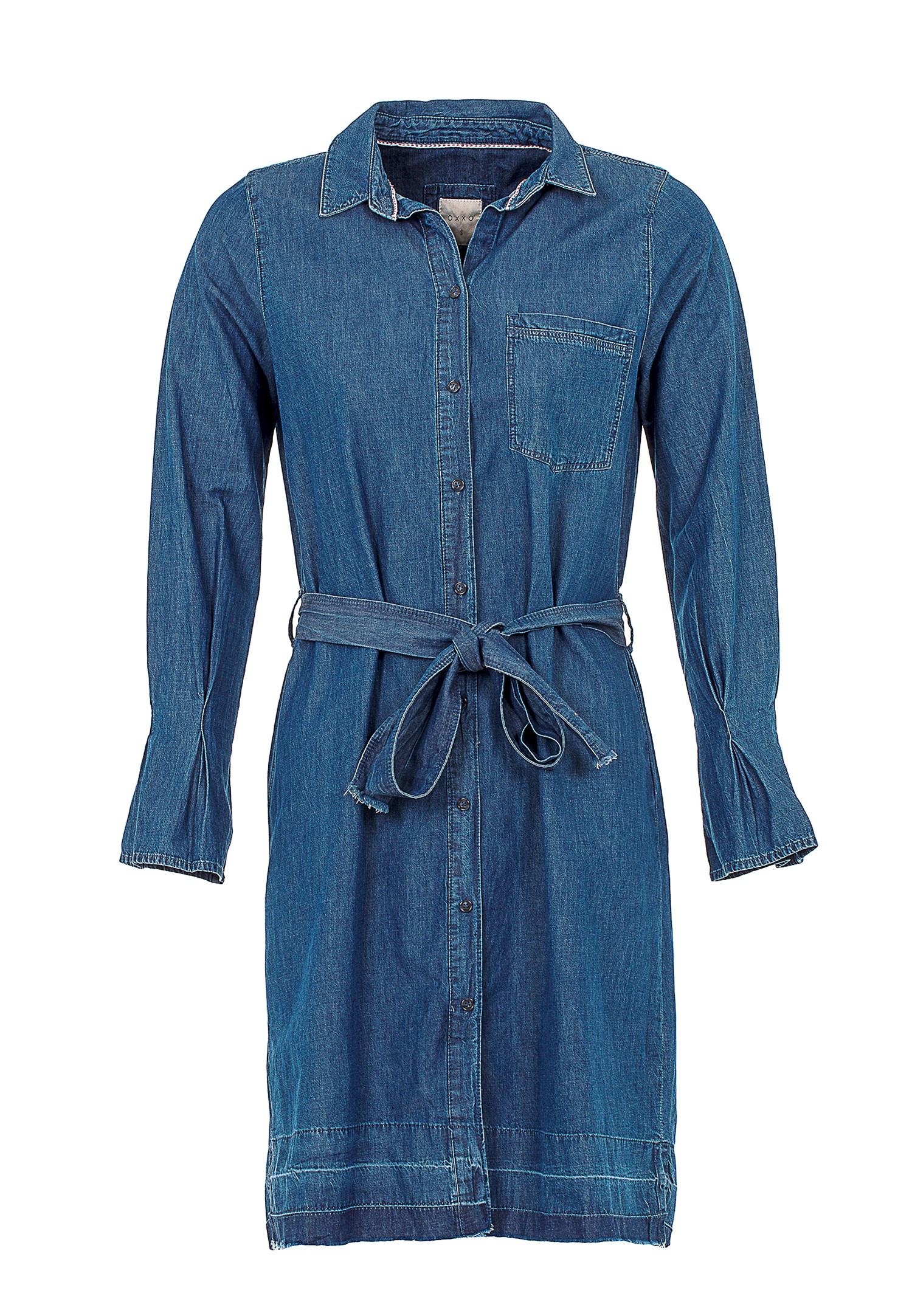 Bayan Mavi Kol Detaylı Beli Bağlamalı Elbise